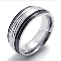 Wholesale First Ring - 075599-Wholesale 365 Day First Choice Steel color Abstract Thinking Mens Stainless Steel Ring jewelry Size:8-12