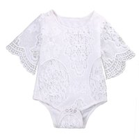 2017 INS New Baby Girl White Lace Rompers Младенческая малыши Floral Fly Sleeve One Piece Jumpsuit Бесплатная доставка