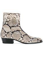 botas de couro venda por atacado-Clássico Homens Ocidentais Moda Snakeskin Ankle Boots De Couro Lado Zíper Alta Martin Top Botas de Outono Trabalho de Inverno Homens de Negócios Sapatos