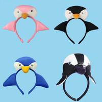 ohren stirnband tier schwanz großhandel-Cartoon Tier Pinguin Baby Kinder Party Stirnbänder Ohren Stirnband Schwanz Fliege Haarschmuck Kinder Haarbänder für Mädchen Bogen