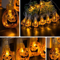 LED Halloween Skull Eyeballs Pumpkin String Decoração do partido Fairy Window Lights