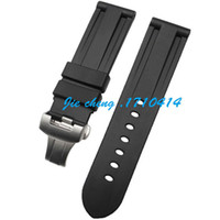 Wholesale Strap For Panerai - JAWODER Watchband 22mm 24mm Men Black Diving Silicone Rubber Watch Band Strap Stainless Steel Deployment Clasp for Panerai LUMINOR