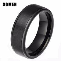 Wholesale Banded Onyx - nel masculino Somen 8mm Black Men Tungsten Carbide Ring High Polish Matte Finish Wedding Engagement Band Promise Rings Comfort anel mascu...