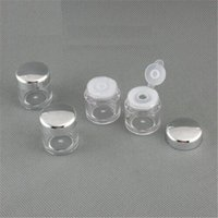 Wholesale Nails Different Powders - 2017 New Matte silver lid 5ml Face powder jar with different sieves nail art glitter powder bottles velvet powder jar
