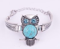 Wholesale Vintage Rhinestone Owl Bracelet - New Vintage Animal Owl Jewelry Antique Silver Plated Turquoise Owl Bracelet Crystal Bohemian Jewelry 8 style CC666