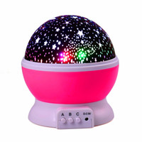 Wholesale colored party bulbs online - Rotation Night Light Starry Star Moon Sky Romantic Night Projector Light Lam Decorating Wedding Birthday Parties