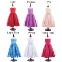 Wholesale Watermelon Prom Dress Color - 2016 Fashion Kids Girls Party Bridesmaid Princess Prom Wedding Dress Sleeveless Tutu Dress With back Bow Tie 6 colors size 100-160 For Girls