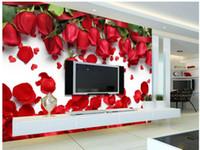 красивые обои природа оптовых-3D настенные фрески обои красивая романтическая любовь красная роза цветок лепесток ТВ фон стены 3d природа обои