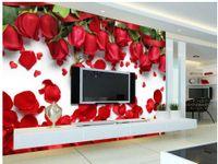 Wholesale 3d Rose Flower Fabric - 3d wall murals wallpaper Beautiful romantic love red rose flower petal TV background wall 3d nature wallpapers
