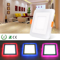 Wholesale Dual Color Led Lamp - New Arrvial RGBW Dual Color LED Ceiling Recessed Square Panel Downlight Spot Light Lamp For Home Office Club CE.ROHS Listed