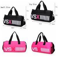 Wholesale Red Duffle Bags - VSX Travel Bags VS Pink Large Capacity Duffle Striped Waterproof Beach Bag Shoulder Bag Women Handbags OOA2443