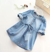 Wholesale Kids Blouses New Style - 2016 New Arrival Baby Girls Long Sleeve Denim Dresses Girls Fashion Floral Embroidery Denim Dress Kids Dress-style Blouses