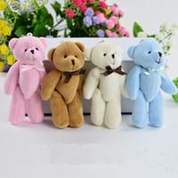 Wholesale 8cm Teddies - 2016 50PCS lot Super Kawaii 8CM Joint Bowtie Teddy Bear Plush TOY DOLL ; Stuffed TOY Wedding Gift Bouquet Decor DOLL TOY #10