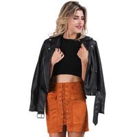 Wholesale Motorcycle Jackets Leather Classic - Winter PU leather jacket coat Classic basic black short jackets women outwear Autumn adjustable waist motorcycle jacket