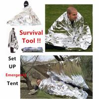 kit de emergencia de supervivencia al por mayor-Camping Manta de Emergencia Portátil de Primeros Auxilios de Supervivencia Rescue Cortina Tienda de Campaña de Herramientas de Senderismo Al Aire Libre 50g Kits de Plata de Oro