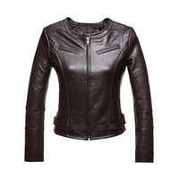 Wholesale Womens Genuine Black Leather Coats - Wholesale-Genuine Leather Jacket Women Sheepskin fashion brief O Neck Jaqueta De Couro Womens Coats And Jackets Winter 2016 Black Brown