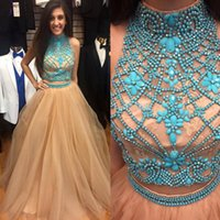 Wholesale Embellished Open Back Dress - Gorgeous 2017 Champagne Tulle Turquoise Embellished Two Pieces Prom Dress High Neck Sleeveless Cut Out Open Back Floor Length Evening Gowns