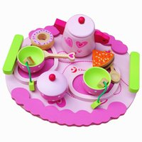 Wholesale Children Wooden Tea Set - New Arrival Baby Toys Afternoon Tea Set Simulation Wooden Toys Dessert Food Toy Play House Child Educational Birthday Gift