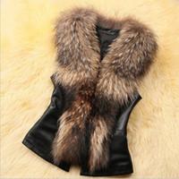 Wholesale Leather Gilet Fur Collar - Women Faux Fur Vest Fashion Faux PU Leather Winter Body Warm Sleeveless Jackets Women Artificial Fur Collar Coat Waistcoat Gilet