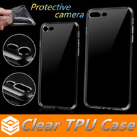 Wholesale Cover Iphone Camera Silicone - Ultra Thin 0.5mm Clear Tpu Case For iphone 8 7 6 6s Plus 5 SE Samsung S7 Edge S8 Plus Soft Transparent Protective Camera Silicone back Cover