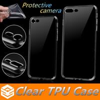 kamerataschen für iphone großhandel-Ultradünner 0.5mm freier Tpu Kasten für iphone 8 7 6 6s plus 5 SE Samsung S7 Rand S8 plus weicher transparenter schützender Kamera-Silikon-Rückendeckel