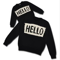 Wholesale Childrens Sweaters Knitted - Wholesale Boys Girls Childrens Sweaters Clothing Autumn Winter Long Sleeve Letters Hello Knitted Pullover Outwear Kids Clothes Black