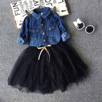 Wholesale Denim Shirts Baby Girls - Toddler Kids Baby Girls Outfits denim shirt+tutu skirt set,2-7y girls Clothes Set,children outwear autumn winter