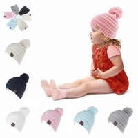 Wholesale Girls Knitting Cap Beanie - Kids CC Trendy Beanie CC Knitted Hats Chunky Skull Caps Winter Cable Knit Slouchy Crochet Hats Fashion Outdoor Warm Oversized Hats OOA2452