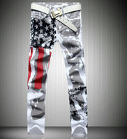 Wholesale American Flag Men Pants - Printed Design Jeans Men American Flag Stars Straight Pants Slim Fit Stretch Trousers