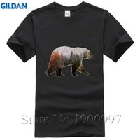 Wholesale Cheapest Tee Shirts - Cheapest Funny Men T-shirt Short Sleeve Forest Bear Retro Printed Casual Funny Tops Tees Men US EUR Size Men Laste