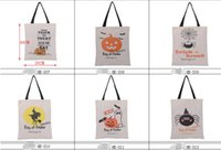 Wholesale pumpkin ornament - Halloween Large Cotton Canvas Hand Bags Pumpkin Devil Spider Printed Candy Gift Sack Santa Claus Bags decorations xmas ornaments