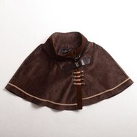 Wholesale Gothic Lolita Punk - Gothic Punk Lolita Cape Girls Blue Brown Vintage Capelet Embroidery Cosplay Suede Fabric Outwear High Quality