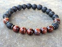Wholesale Beaded Jewelry Designs - SN1083 Natural Men's Lava Red Tiger Eye Bracelet New Design Yoga Mala Beads Bracelet Buddhist Meditation Chakra Jewelry