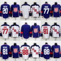tj oshie jersey venda por atacado-77 TJ Oshie 81 Phil Kessel 88 Patrick Kane Jersey 2016 copa do mundo de hóquei EUA Mens Hockey Jersey Barato