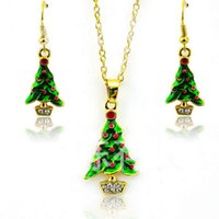 Wholesale Elegant Necklace Earrings - New Arrival Fashion Jewelry Sets Gold Plated Elegant Christmas Tree For Women Earrings Necklace Set Wholesale