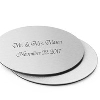 Wholesale Personalized Wedding Coasters - 100Pcs=50Set Personalized Wedding Gift For Guests,Metal Cup Coaster Set With EVA Glue Cushion,Customized Engagement Party Favors With Logo