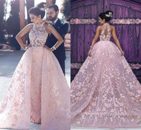 Wholesale simple gold design - Blush Pink New Design Sweep Train 2017 A line Wedding Dresses Halter sleeveless Sexy Back Empire Tulle full 3D-Floral Appliques Wedding Gown