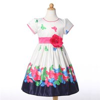 Wholesale Butterfly Nylon White - Butterfly Girls Dresses Summer 2016 Floral Print Sleeveless Kids Dresses for Girls Clothes Party Princess Dress Children