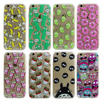 Wholesale Banana Phone Iphone Case - Luxury Soft TPU 3D Cute Cartoon Eyes Move Mouse Cat French fries Banana Popcorn Phone Case Cover For iPhone 6 6S Plus 5 5S SE MOQ:100pcs