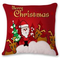 Wholesale Christmas Decorative Throw Pillows - Square Christmas Decoration Pillowcase Cartoon Decorative Ornament Gift Home Decor Room Throw Sofa Cushion Cover Pillow Case Car