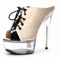 Wholesale Sexy Beige Platform Heels - 6 inches platform high heel slippers custom + complete clear 15 centimeters, sexy high-heeled sandals crystal