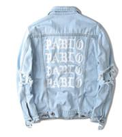 jaqueta de jeans oversized venda por atacado-Oversized jaqueta jeans casacos Pablo Kanye West jaquetas masculinas A vida de Pablo kanye Denim Jeans