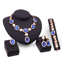Wholesale Sapphire Rings China - Sapphire Beads Collares Jewelry Sets For Women Wedding Bridal Pendant Statement CZ Diamond Necklace Earrings Ring Bracelet XS