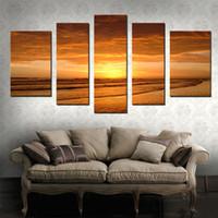 schöne ölgemälde bilder landschaft großhandel-5 Bild Kombination Schöne Landschaft Strand Kunst Gemälde Seelandschaft Sonnenuntergang Öl Gemälde Wanddekoration für Wohnzimmer