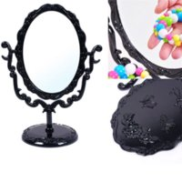 Wholesale Mirrored Rose Compact - Desktop Rotatable Gothic Small Size Rose Makeup Stand Compact Mirror Black Butterfly EGNW #57700 makeup mirror lamp