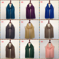 Wholesale maxi scarves plain - Mixed color abaya cotton instant scarf woman tudung plain solid viscose soft headwrap maxi muslim hijab for lady girl wholesale