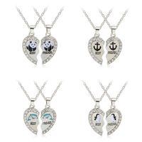 Wholesale Crystal Diamond Heart Shape - New Hot Best friends necklaces Penguins anchor pendant diamond necklaces heart shape alloy necklaces free shipping