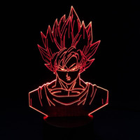 2017 Goku Dragon Ball Style 3D Illusion Optique Lampe Nuit DC 5V USB AA Batterie en gros Dropshipping