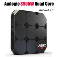 suporte do youtube venda por atacado-Android apoio 7.1 TV Box Amlogic S905W A95X R2 Quad Core TV Boxes 2GB 16GB 4K Box Netflix Hulu Flixster Youtube Media Player 17.3