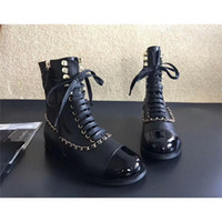 Women Boots Genuine Leather Chunky Casual Shoes Cadeia Bombas Deslizamento em couro Black Gold Luxo Brand Musgo Boosts para Party Ankle Boots
